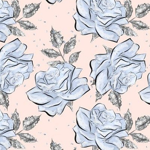 """Roses Icicle Blue/ Silver medium 3"""" on blush pink"""
