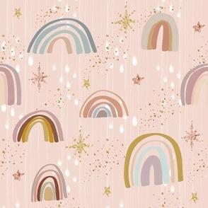 Boho Rainbow blush with stars