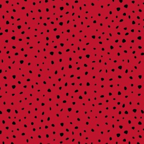 Little spots and speckles panther animal skin abstract minimal dots in valentine crush Christmas red black SMALL