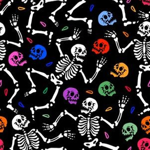 Skeleton dancing at Halloween party
