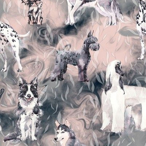 sweet dogs tuxedo Black and White on indigo blue pink and grey watercolor FLWRHT