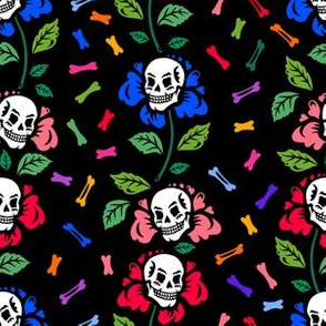 Flowers with skulls and bones