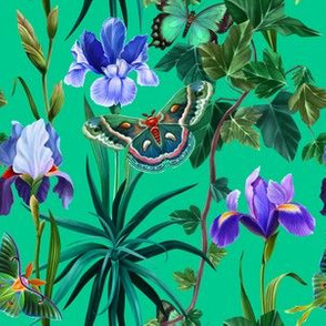 Emerald Garden with irises and butterflies