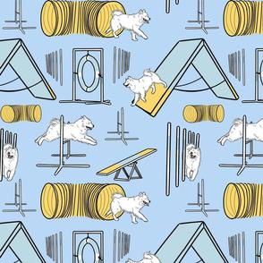 Simple Samoyed agility dogs - blue