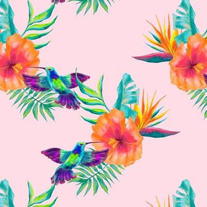 Tropical exotic hand drawn watercolor seamless pattern design