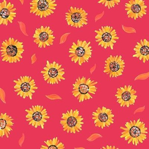 Sunflower small print on red