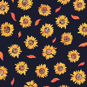 Sunflower small print on deep blue