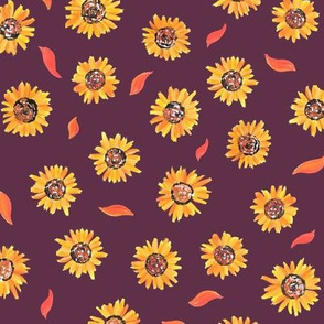 Sunflower small repeat on purple