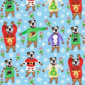 Bulldogs wearing Ugly Christmas Sweaters