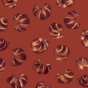 Croissant pattern on rich red brown