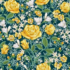 Yellow Roses Chintz | Dark Teal