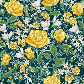 Yellow Roses Chintz Small | Dark Teal