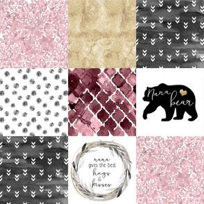 Nana//Burgandy&Gold - Wholecloth Cheater Quilt