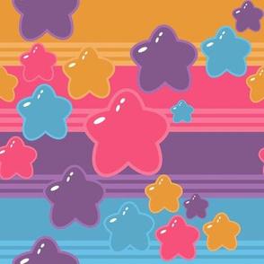 Rainbow Brite Girl stripe Bubble stars