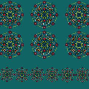 Folk Art Floral 1 yd design- drk turq
