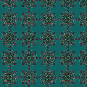 Folk Art Floral- dark turquoise