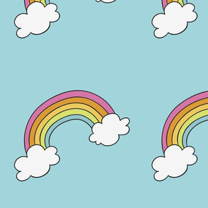 Handdrawn rainbows with clouds on blue