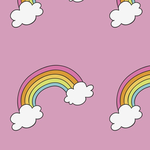 Handdrawn rainbows with clouds on pink