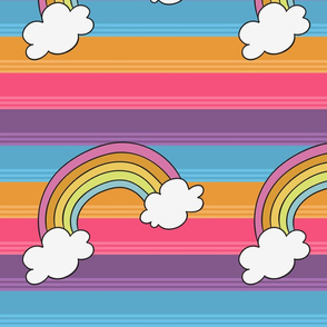 Rainbow Brite with Rainbows and Clouds
