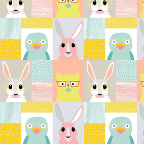 Bunny Cat Bird cheater quilt