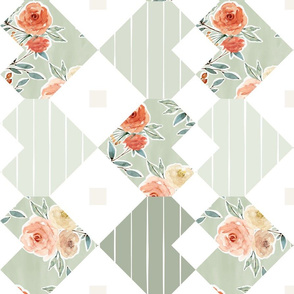 rotated // Valentine's Day light sage green heart cheater quilt