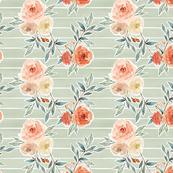 romantic bloom floral // light sage green stripe