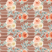 romantic bloom floral // hot chocolate brown striped