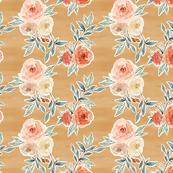 romantic bloom floral // mustard ochre yellow