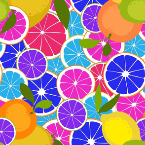 Citrus Pop Art Fruit Salad Neon Colors