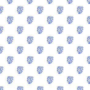 monstera watercolor tiny leaves-overall blueviolet