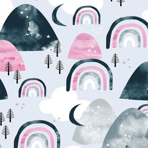 Magic watercolors mountains and rainbows clouds and forest trees winter woodland blue pink girls