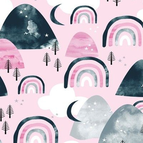 Magic watercolors mountains and rainbows clouds and forest trees winter woodland gray navy pink girls