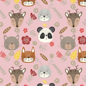 Woodland animals kids pattern pink background