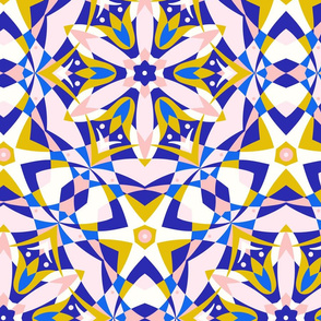 Art Nouveau Kaleidoscope royal blue