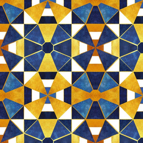 Kaleidoscope geometric shapes // gold and blue