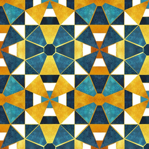 Kaleidoscope geometric shapes // gold and teal