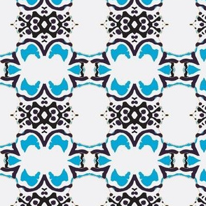 Bohemian Kaleidoscope Blue and white