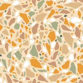 Terrazzo in ochres and green