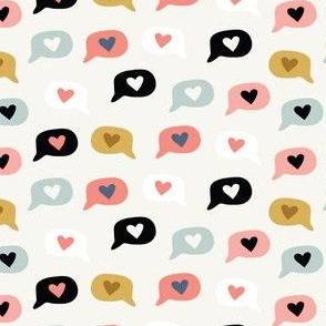 Doodle speech bubbles with heart emoji icons