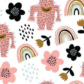Cute scandinavian pattern with pink cute monsters, rainbows, flowers