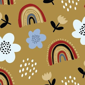 Elegant pattern with colorful flowers and rainbows