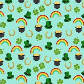 SMALL - st patricks day fabric - leprechaun fabric, pot of gold, lucky fabric, luck of the irish fabric, rainbow fabric - mint