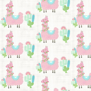 Fancy light pink Glammy LLAMA - MED 7 cactus - washed linen