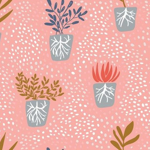 Garden plants with roots on pink background. Happy gardening