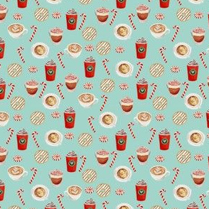 TINY - watercolor peppermint latte, coffee and donuts, christmas, xmas, holiday fabric, candy cane - mint