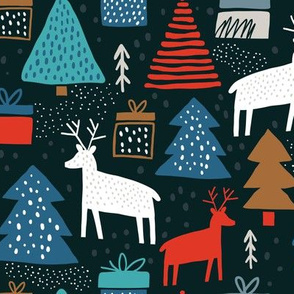 Childish pattern with deers and pines. Trendy scandinavian holiday vector background