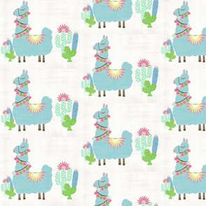 Fancy mint Glammy LLAMA MED 7 cactus-washed linen