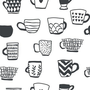 Black and white cups of coffee scandinavian pattern