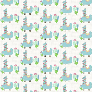 Fancy mint Glammy LLAMA SMALL 4 cactus-washed linen