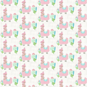 Fancy light pink Glammy LLAMA - SMALL 4 cactus - washed linen